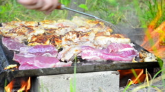 Barbecue on the grill. Stock Footage
