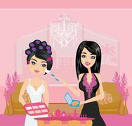 professional make-up artist applying blush - stock illustration