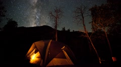 Camping under the stars and Milky Way  - stock footage
