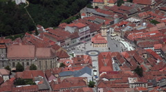 Medieval city, old European town, central square, architecture, red roofs Stock Footage