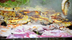 Meat grilling on barbecue Stock Footage