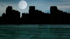 Dark silhouette of the town by the sea Stock Footage