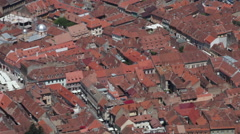 Panoramic view over red roofs, Medieval city, old European town, architecture Stock Footage