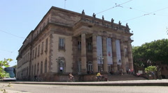 France - Strasbourg - A tram is passing the opera building Stock Footage