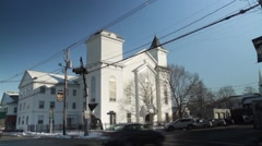 Small Town - Church intersection Stock Footage