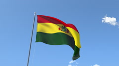 The flag of Bolivia Waving on the Wind. Stock Footage