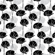 seamless pattern with decorative poppies, for invitations, cards, scrapbooking - stock illustration