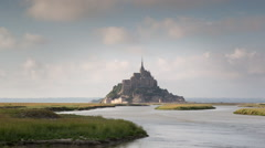 mont saint michel france tourist cathedral timelapse - stock footage