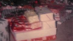 Christmas Presents Under Tree - Vintage 8mm - stock footage