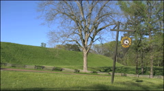 Mississippi Emerald Mound with sign 4k - stock footage