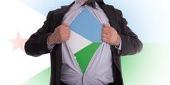businessman with djibouti flag t-shirt - stock illustration