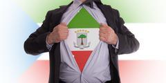 businessman with equatorial guinea flag t-shirt - stock illustration