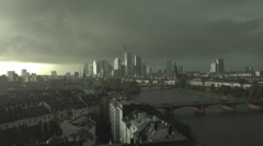 Aerial view panorama Frankfurt am Main cityscape dramatic dark sky heavy storm  Stock Footage