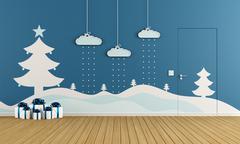 Playroom with christmas decoration Stock Illustration