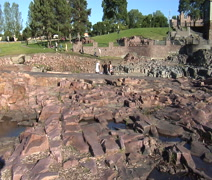 Sioux Falls- Natural waterfall pan Stock Footage