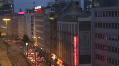 Aerial view traffic street building cityscape Frankfurt am Main Germany night  Stock Footage