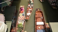 Beautiful high angle shot of various boats at the floating market with sound Stock Footage