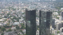 Aerial view Frankfurt am Main city Deutsche Bank Twin Towers modern building day Stock Footage