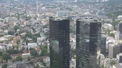 Aerial view Frankfurt am Main city Deutsche Bank Twin Towers modern building day - stock footage