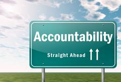 Stock Illustration of highway signpost accountability