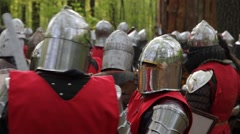 Knights prepareing before the battle Stock Footage