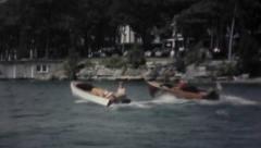 Speedboats On Lake - Vintage 8mm Stock Footage