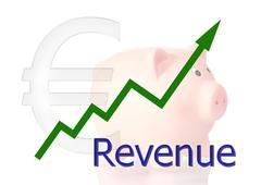 Green diagram upwards revenue with piggy bank Stock Illustration
