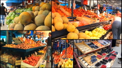 Vegetables fruits Market store place food multiscreen Stock Footage