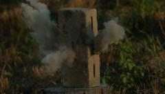 Cinder Block Destroyed by Bullet in Super Slow Motion Stock Footage
