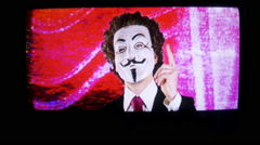 vendetta mask distortion broadcast anarchist anonymous - stock footage