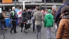 Dutch natives exiting an Amsterdam Ferry - stock footage