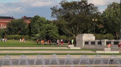 Panning Shot of World War II Memorial in Washington DC Stock Footage