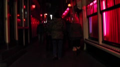 Hidden Camera Handheld Walking Through the Red Light District Stock Footage