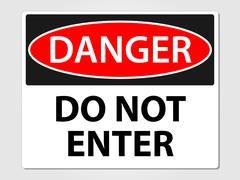 Danger do not enter sign Stock Illustration