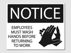 Employees must wash hands sign Stock Illustration