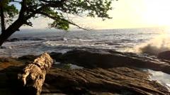 Cameroonian Coast at Kribi, Pan Shot Stock Footage