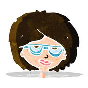 Stock Illustration of cartoon woman wearing spectacles