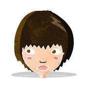 cartoon unhappy girl - stock illustration