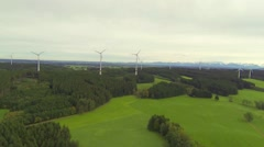 Aerial view of wind farm in southern germany Stock Footage