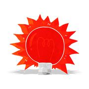 Cartoon flashing red light bulb Stock Illustration