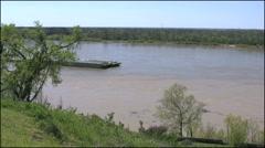 Mississippi Vicksburg barge comming up river time lapse 4k Stock Footage