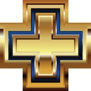 Golden cross symbol Stock Illustration