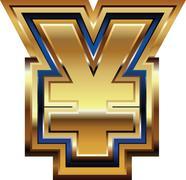 golden yen symbol - stock illustration