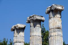Ionic columns temple of athena Stock Photos