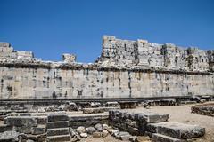 interior ashlar walls of the apollo temple - stock photo