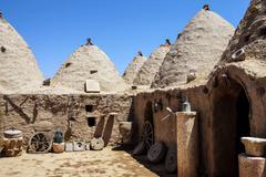 Traditional beehive mud brick houses Stock Photos