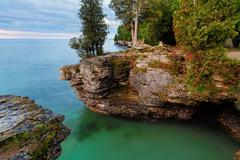 Rocky Cliffs at Cave Point - stock photo