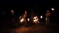 Fireshow on roleplay by Middle Ages Stock Footage