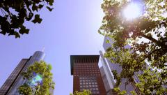 City skyline skyscrapers. urban cityscape. real estate. park trees Stock Footage