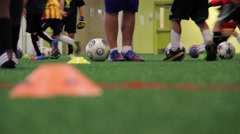 Indoor Soccer Training shot using slider  Stock Footage